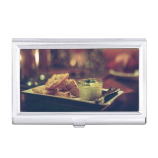 Bread and sauce with fork and knife business card case