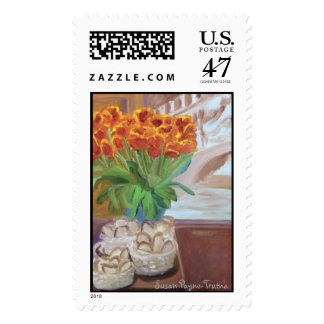 BREAD AND TULIPS POSTAGE STAMPS