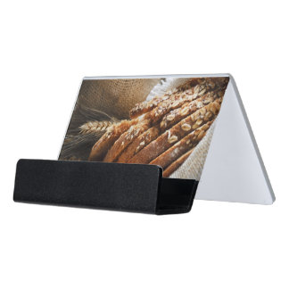Bread And Wheat Ears Desk Business Card Holder