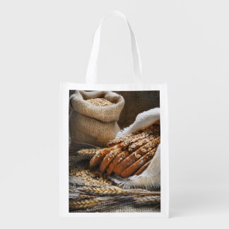 Bread And Wheat Ears Reusable Grocery Bag