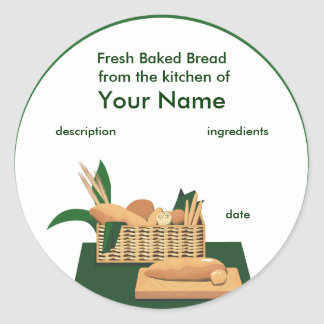 Bread Basket Product Label Round Stickers