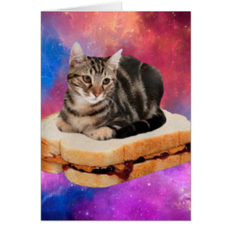 bread cat  - space cat - cats in space card