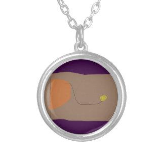 Bread Dark Purple Round Pendant Necklace