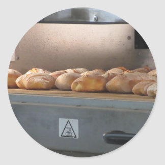 Bread freshly made into the oven classic round sticker