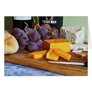 Bread Grapes Cheddar and Blue Cheeses Still Life Card