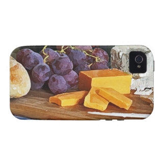 Bread Grapes Cheddar and Blue Cheeses Still Life Vibe iPhone 4 Case