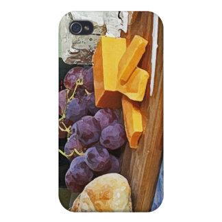 Bread Grapes Cheddar and Blue Cheeses Still Life iPhone 4/4S Case