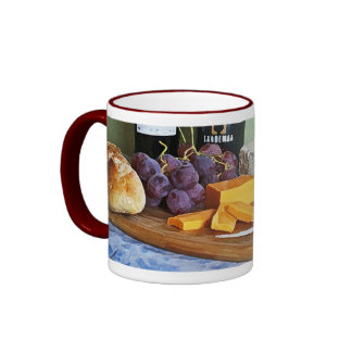 Bread Grapes Cheddar and Blue Cheeses Still Life Ringer Coffee Mug