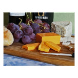 Bread Grapes Cheddar and Blue Cheeses Still Life Posters