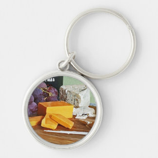 Bread Grapes Cheddar and Blue Cheeses Still Life Silver-Colored Round Keychain
