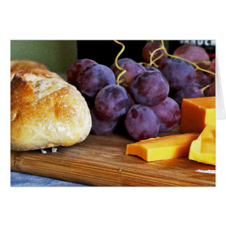 Bread Grapes Cheddar Cheese Still Life Card