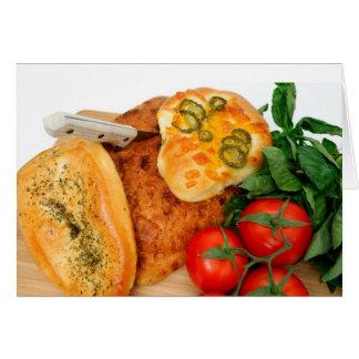 Bread Herbs Tomatoes Card