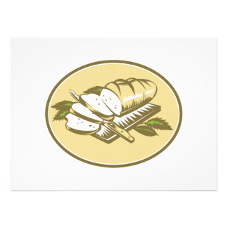 Bread Loaf With Knife and Board Woodcut Personalized Invites