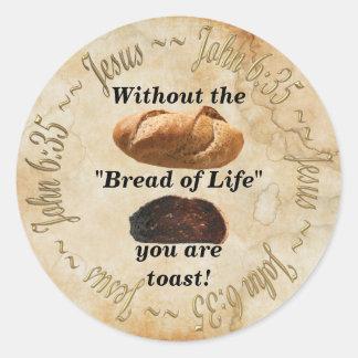 BREAD OF LIFE / JOHN 6:35 CLASSIC ROUND STICKER