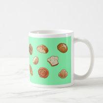 Bread & pastry pattern mug - green