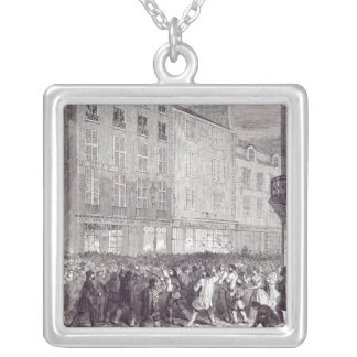Bread Riot, in the Rue du Faubourg St. Antoine Square Pendant Necklace