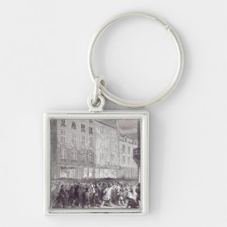 Bread Riot, in the Rue du Faubourg St. Antoine Silver-Colored Square Keychain