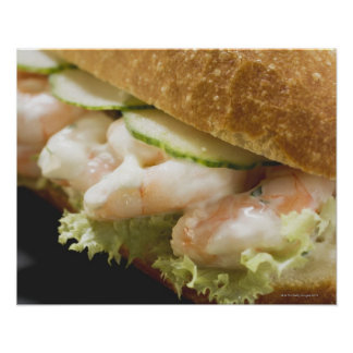 Bread roll filled with shrimps, cucumber and poster