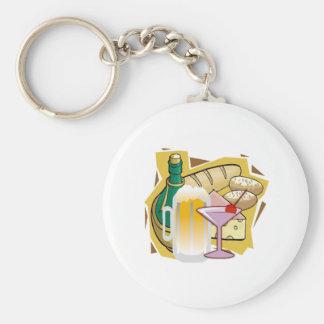 bread wine party basic round button keychain