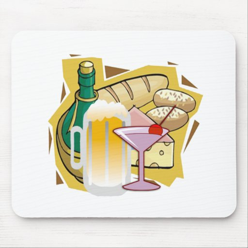 bread wine party mouse pad