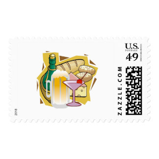 bread wine party stamp