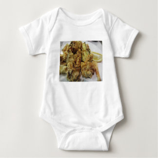 Breaded and fried crunchy vegetables with lemon baby bodysuit