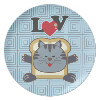 Breading Cat Blue Plate