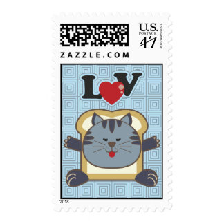 Breading Cat Blue Postage Stamp