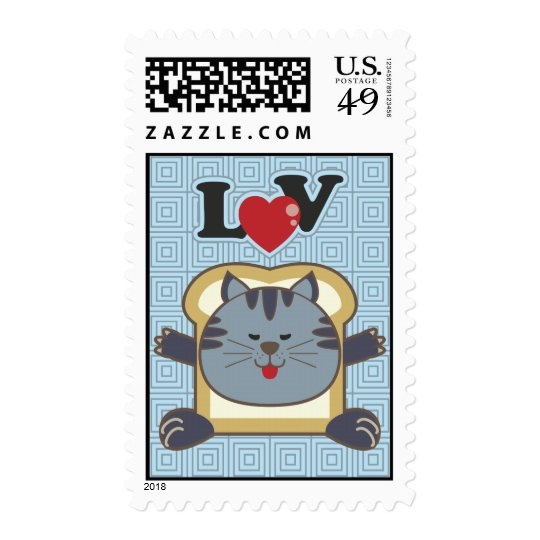 Breading Cat Blue Postage Stamp