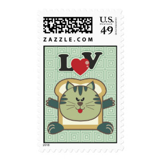 Breading Cat Green Postage Stamp