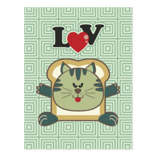 Breading Cat Green Postcard