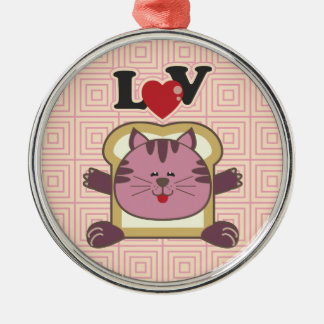 Breading Cat Pink Premium Round Ornament
