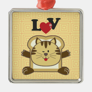 Breading Cat Yellow Square Ornament
