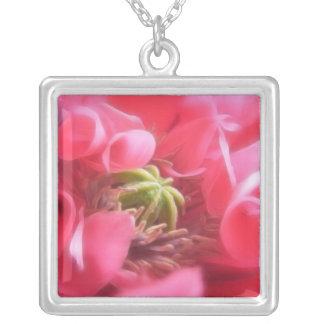 Breadseed Poppy - Papaver Somniferum Square Pendant Necklace
