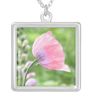 Breadseed Poppy Petals Square Pendant Necklace