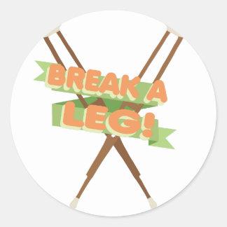 Break A Leg Crutches Classic Round Sticker