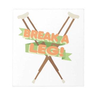 Break A Leg Crutches Notepad