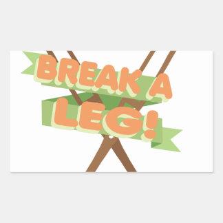 Break A Leg Crutches Rectangular Sticker