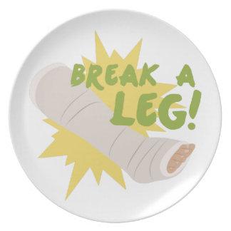 Break A Leg Melamine Plate