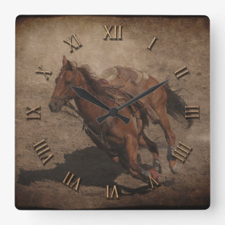 Break A-Way Rodeo Horse Square Wall Clock