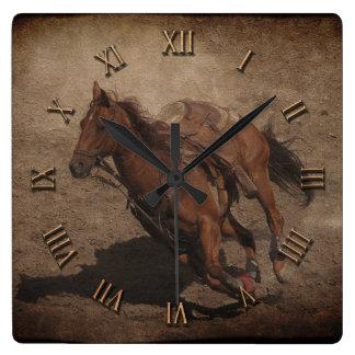 Break A-Way Rodeo Horse Square Wall Clock
