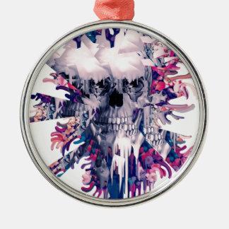 Break Away Floral Splash Skull Metal Ornament