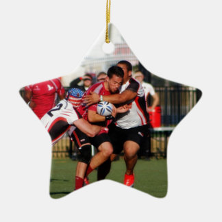 Break Away Tackle Double-Sided Star Ceramic Christmas Ornament