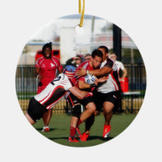 Break Away Tackle Double-Sided Ceramic Round Christmas Ornament