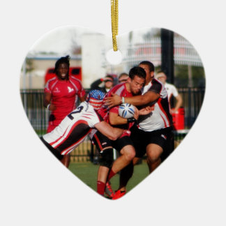 Break Away Tackle Double-Sided Heart Ceramic Christmas Ornament