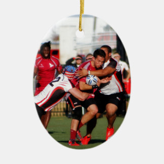 Break Away Tackle Double-Sided Oval Ceramic Christmas Ornament