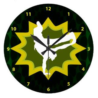 Break Dancer on Cool Retro Background Large Clock