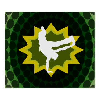 Break Dancer With Groovy Retro Background Poster