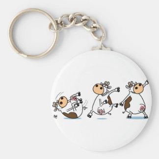 Break Dancing Cow Basic Round Button Keychain