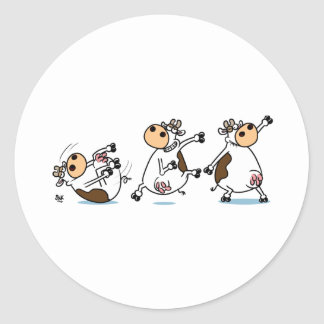 Break Dancing Cow Classic Round Sticker